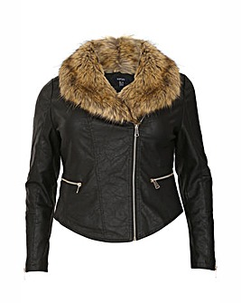 Samya Fur Trim Leather Jacket