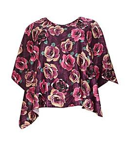 emily Satin Floral Kimono Top