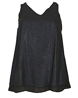 emily Chiffon Foil Split Back Top