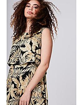 Elvi Tropical Print Overlay Dress