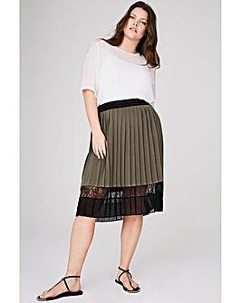 Elvi Contrast Lace Midi Skirt