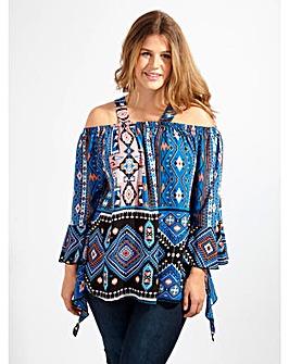 Lovedrobe GB Blue Aztec Print Blouse