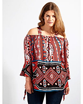 Lovedrobe GB Aztec Print Bardot Blouse