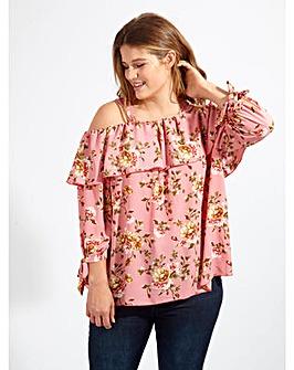 Koko Pink Floral Print  Bardot Top