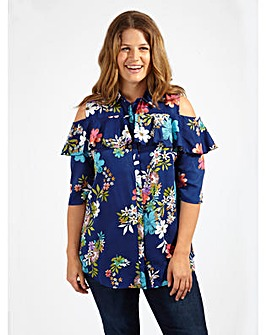Koko Cold Shoulder Navy Floral Shirt