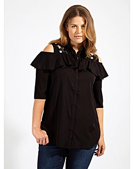 Koko Black Cold Shoulder Ruffle Shirt
