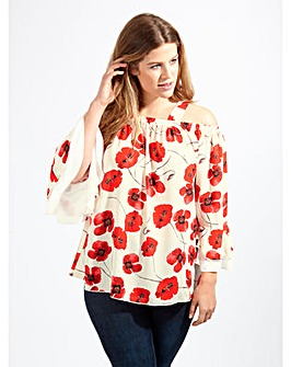 Lovedrobe GB Poppy Print Bardot Blouse