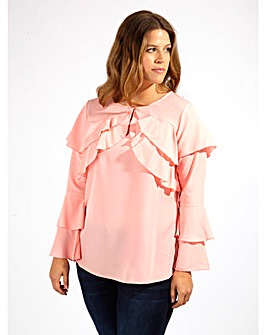 Koko Pink Blouse With Long Ruffle Sleeve