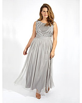 Lovedrobe Luxe Embellished Grey Maxi