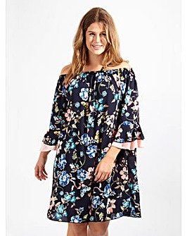 Lovedrobe GB Floral Print Bardot Dress