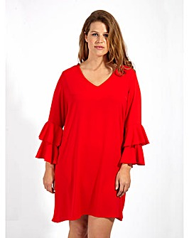 Loverobe GB Red Frill Swing Dress