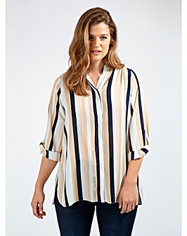 Koko Stripe Blouse With Mandarin Collar