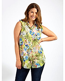 Koko Tropical Print Frill Shoulder Shirt
