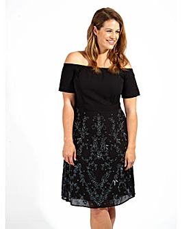 Lovedrobe Luxe Sequin Black Bardot Dress