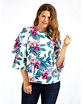 Koko Floral Print With Ruffle Sleeves