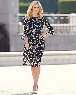 Black/Ivory Print Lace Trim Dress