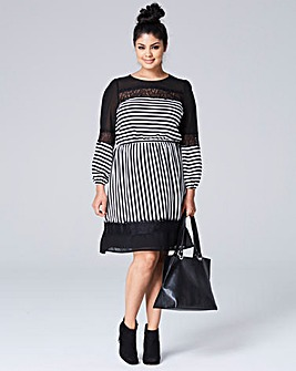 Black/Ivory Stripe Lace Mix Dress