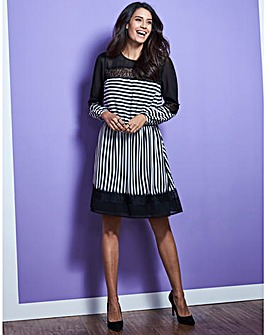 Black/Ivory Stripe Lace Mix Dress
