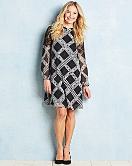 Black Lace Trim Printed Cold Dress