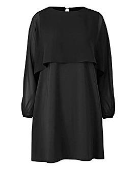 Black Cape Sleeve Tunic Dress