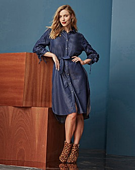 LYOCELL DENIM ROUCHED SLEEVE DRESS