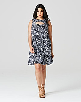 Blue Floral PrinCut Out Neck Swing Dress