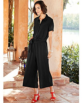 Black Shirt Culotte Jumpsuit