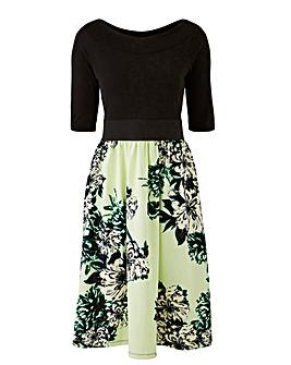 Mint/Black Printed Prom Dress