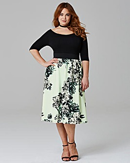 Mint/Black Printed Prom Dress