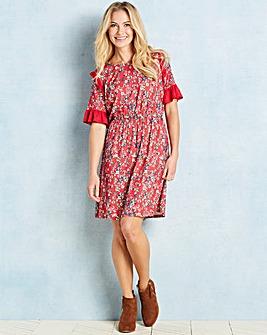Red Floral Print Ruffle Detail Tea Dress