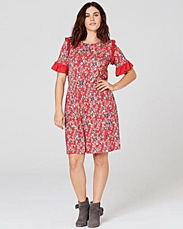 Red Floral Print Ruffle Detail Tea Dress