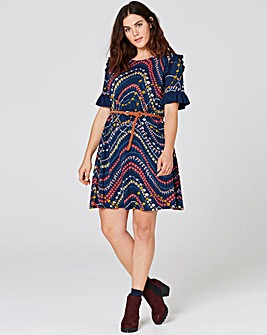 Nav Floral Print Ruffle Detail Tea Dress