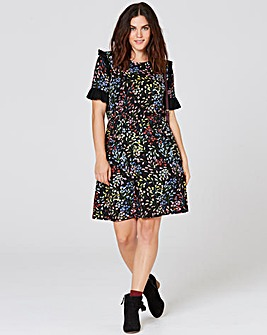 Black Print Ruffle Detail Tea Dress