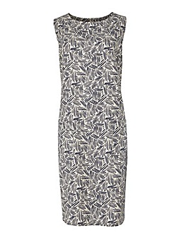 Navy/Ivory Print Linen Dress