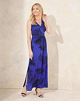 Cobalt/Black V Neck Value Maxi Dress