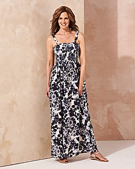 Ivory/ Navy Pull On Viscose Maxi Dress
