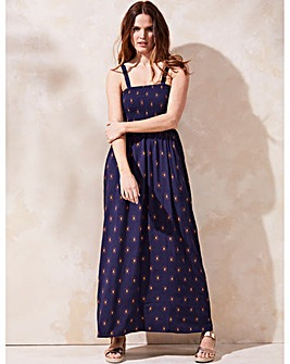 Navy Print Pull On Viscose Maxi Dress