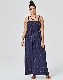 Navy Print Pull On Viscose Maxi Dress