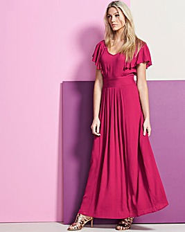 Cherry Pink Frill Crinkle Maxi Dress