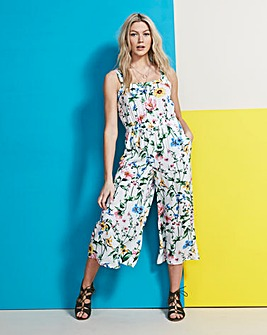 White Floral Culotte Printed Jumpsuit