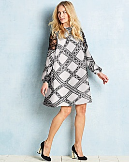 Ivory Lace Trim Printed Dress