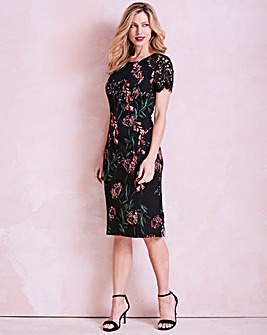 Black/Pink Lace Trim Shift Dress