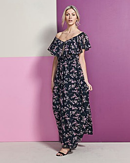 Black/ Pink Floral Bardot Maxi Dress