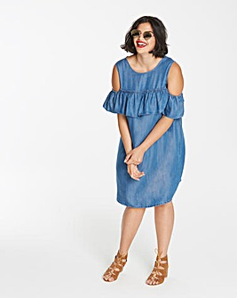 Lyocell Denim Cold Shoulder Frill Dress