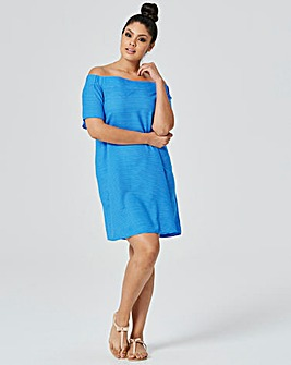 Blue/Ivory Off The Shoulder Bardot Dress