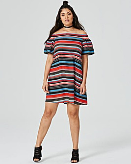 Multi Off The Shoulder Bardot Dress