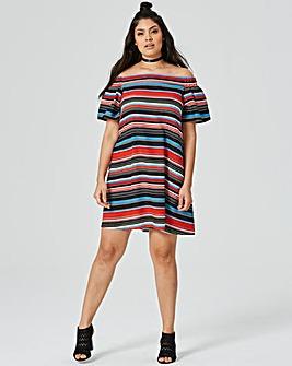 Multi Off The Shoulder Bardot Dress