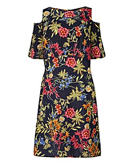 Navy Floral Cut Out Shoulder Dress