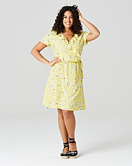 Yellow Daisy Frill Woven Tea Dress