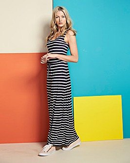 Navy Stripe Vest Maxi